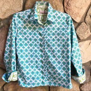 Tizzie Patterned Cotton Button Down Shirt Large